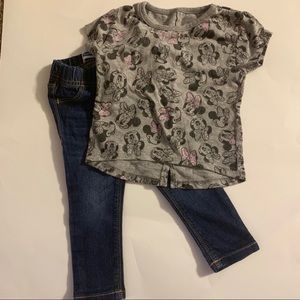 Toddler jeggings & Minnie Mouse shirt 18-24 months